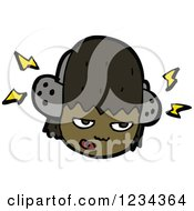 Clipart Of A Black Girl Wearing Headphones Royalty Free Vector Illustration by lineartestpilot