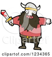 Clipart Of A Viking Man With A Bloody Sword Royalty Free Vector Illustration by lineartestpilot