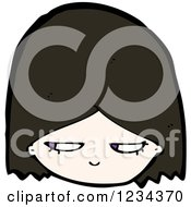 Clipart Of A Suspicious Brunette Girl Royalty Free Vector Illustration