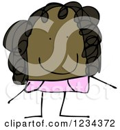 Clipart Of A Doodled Black Girl Royalty Free Vector Illustration by lineartestpilot