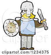 Clipart Of A Man Ready For Battle Royalty Free Vector Illustration by lineartestpilot