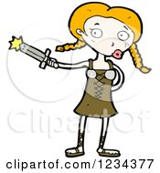 Clipart Of A Medieval Girl With A Sword Royalty Free Vector Illustration by lineartestpilot