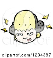 Clipart Of An Angry Blond Girl Wearing Headphones Royalty Free Vector Illustration by lineartestpilot