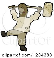 Clipart Of A Man Swinging A Hammer Royalty Free Vector Illustration by lineartestpilot