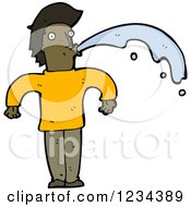 Clipart Of A Man Spitting Water Royalty Free Vector Illustration by lineartestpilot