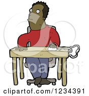 Clipart Of A Black Man Using A Computer Mouse At A Desk Royalty Free Vector Illustration by lineartestpilot