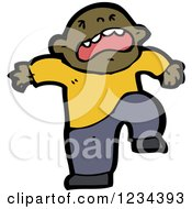 Clipart Of A Stomping Black Man Royalty Free Vector Illustration by lineartestpilot