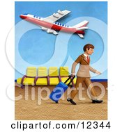 Clay Sculpture Clipart Traveling Businessman Walking In An Airport Royalty Free 3d Illustration by Amy Vangsgard