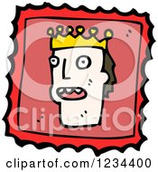 Clipart Of A King Stamp Royalty Free Vector Illustration by lineartestpilot