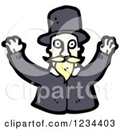 Clipart Of A Man With A Mustache And Top Hat Royalty Free Vector Illustration by lineartestpilot