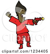 Clipart Of A Black Man With A Ray Gun Royalty Free Vector Illustration by lineartestpilot