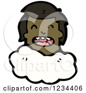 Clipart Of A Black Mans Head On A Cloud Royalty Free Vector Illustration by lineartestpilot