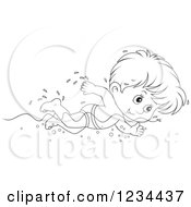 Clipart Of A Black And White Boy Swimming Laps In A Pool Royalty Free Vector Illustration