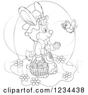 Clipart Of An Outlined Bird Talking To A Female Easter Bunny With A Basket Of Eggs Royalty Free Vector Illustration