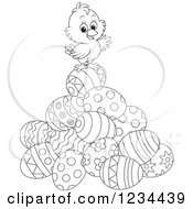 Clipart Of An Outlined Easter Chick On A Pile Of Eggs Royalty Free Vector Illustration