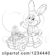 Clipart Of An Outlined Male Easter Bunny Pushing Eggs In A Wheelbarrow Royalty Free Vector Illustration