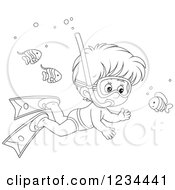 Clipart Of An Outlined Boy Snorkeling Around Fish Royalty Free Vector Illustration