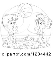 Clipart Of Black And White Children Playing With A Ball On A Beach Royalty Free Vector Illustration by Alex Bannykh