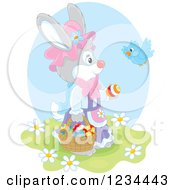 Clipart Of A Bird Talking To A Female Easter Bunny With A Basket Of Eggs Royalty Free Vector Illustration by Alex Bannykh