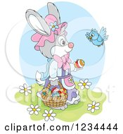 Clipart Of A Blue Bird Talking To A Female Easter Bunny With A Basket Of Eggs Royalty Free Vector Illustration