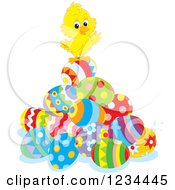 Clipart Of A Cute Easter Chick On A Pile Of Eggs Royalty Free Vector Illustration