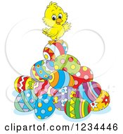 Clipart Of A Cute Chick On A Pile Of Easter Eggs Royalty Free Vector Illustration