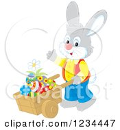 Clipart Of A Male Easter Bunny Pushing Eggs In A Wheelbarrow Royalty Free Vector Illustration