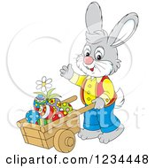 Clipart Of A Gray Male Easter Bunny Pushing Eggs In A Wheelbarrow Royalty Free Vector Illustration