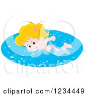 Clipart Of A White Girl Swimming Laps In A Pool Royalty Free Vector Illustration