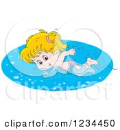 Clipart Of A Caucasian Girl Swimming Laps In A Pool Royalty Free Vector Illustration