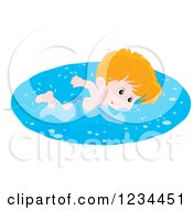 Clipart Of A White Boy Swimming Laps In A Pool Royalty Free Vector Illustration