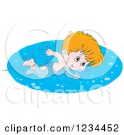 Clipart Of A Caucasian Boy Swimming Laps In A Pool Royalty Free Vector Illustration