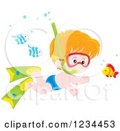 Clipart Of A Red Haired Boy Snorkeling Around Fish Royalty Free Vector Illustration