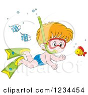 Caucasian Boy Snorkeling Around Fish