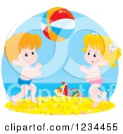 Clipart Of White Children Playing With A Ball On A Beach Royalty Free Vector Illustration