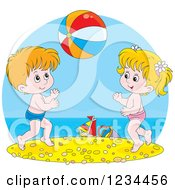 Clipart Of Caucasian Children Playing With A Ball On A Beach Royalty Free Vector Illustration by Alex Bannykh