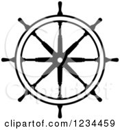 Clipart Of A Black And White Nautical Ship Helm Steering Wheel Royalty Free Vector Illustration