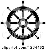 Clipart Of A Black And White Nautical Ship Helm Steering Wheel 4 Royalty Free Vector Illustration