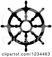 Clipart Of A Black And White Nautical Ship Helm Steering Wheel 5 Royalty Free Vector Illustration