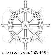 Clipart Of A Black And White Nautical Ship Helm Steering Wheel 6 Royalty Free Vector Illustration
