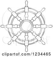 Clipart Of A Black And White Nautical Ship Helm Steering Wheel 7 Royalty Free Vector Illustration