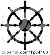 Clipart Of A Black And White Nautical Ship Helm Steering Wheel 8 Royalty Free Vector Illustration