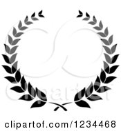 Clipart Of A Black And White Laurel Wreath 2 Royalty Free Vector Illustration
