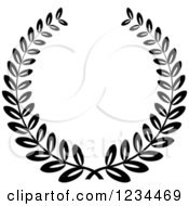Clipart Of A Black And White Laurel Wreath 3 Royalty Free Vector Illustration