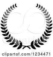 Clipart Of A Black And White Laurel Wreath 5 Royalty Free Vector Illustration