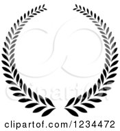 Clipart Of A Black And White Laurel Wreath 6 Royalty Free Vector Illustration