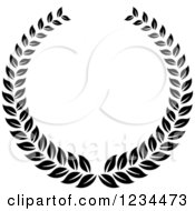 Clipart Of A Black And White Laurel Wreath 7 Royalty Free Vector Illustration