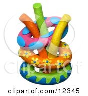 Clay Sculpture Clipart Inner Tubes With Swimming Pool Noodle Toys Royalty Free 3d Illustration