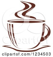 Clipart Of A Brown Cafe Coffee Cup With Steam 23 Royalty Free Vector Illustration