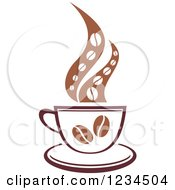 Clipart Of A Brown Cafe Coffee Cup With Bean Steam Royalty Free Vector Illustration